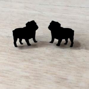Engelsk bulldog øreringe sort
