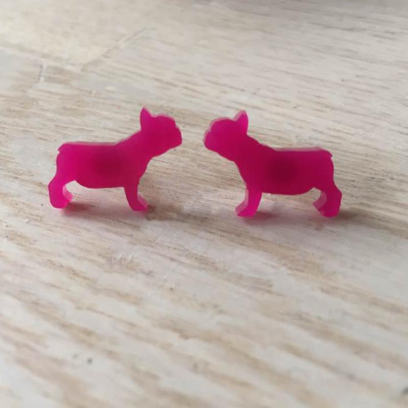 Fransk Bulldog øreringe pink